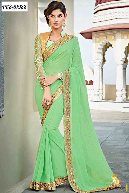 green color royal sarees with designer blouse online collection for engagement function