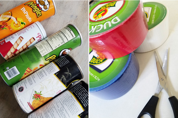 tube containers of pringles and Duck tape