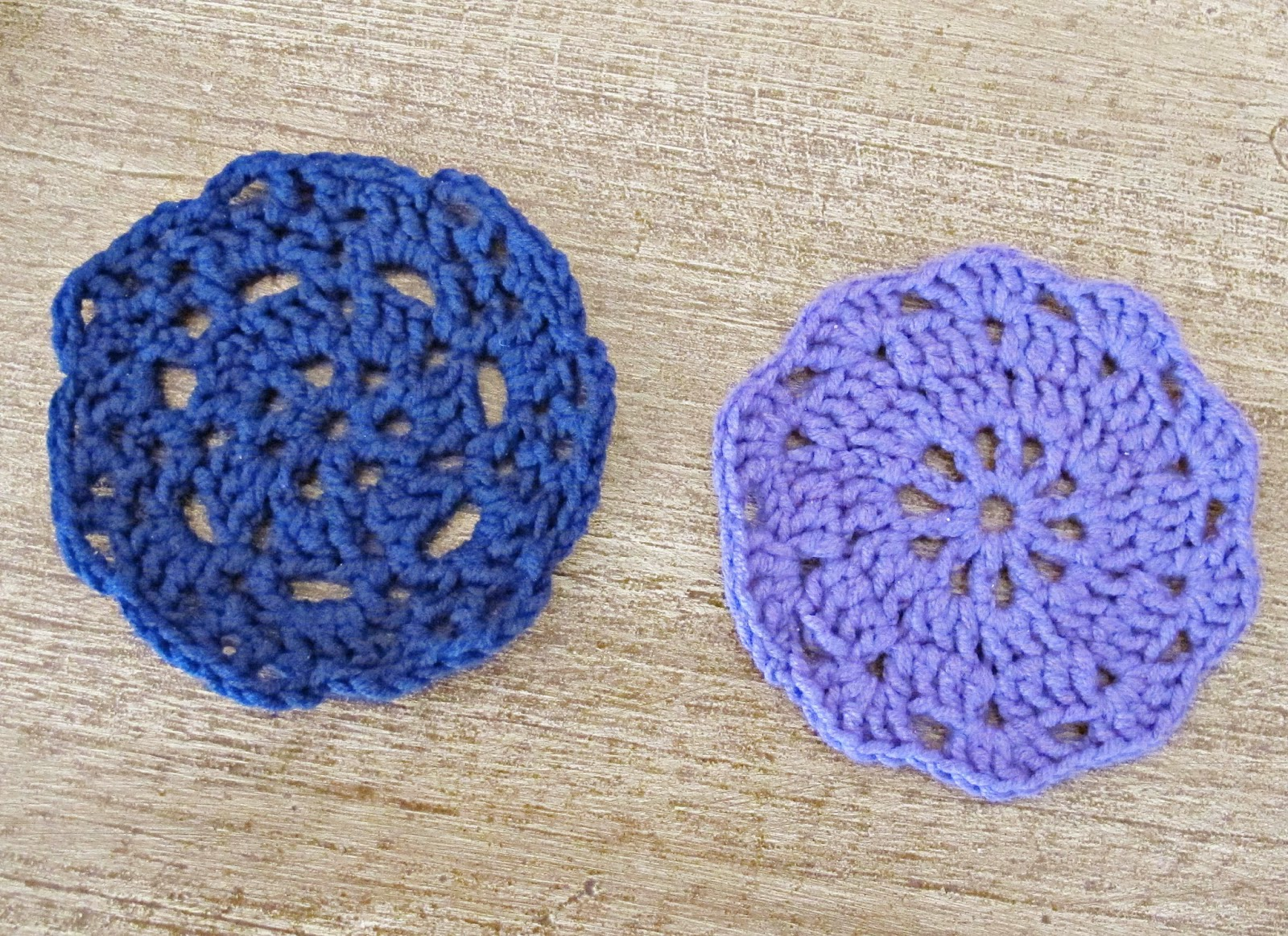 image crochet doilies coasters drinks crocheted moda vera beetle yarn navy blue purple mauve