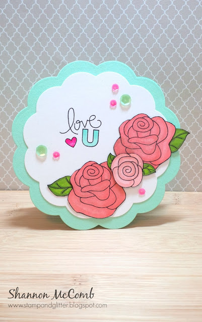 Love Rose Card by Shannon McComb for Inky Paws Challenge | Love Grows Roses stamp set by Newton's Nook Designs