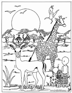 African Jungle Coloring Animals Page Print For Kids