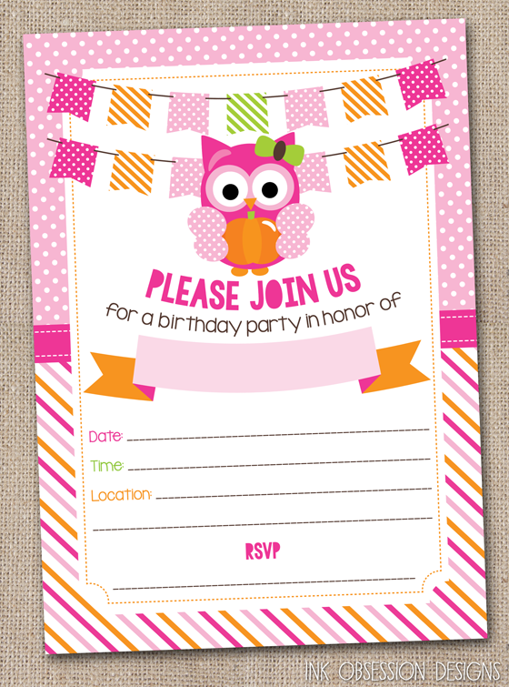 Instant Download Printable Pumpkin Owls Birthday Party Invitations Saved In PDF Format