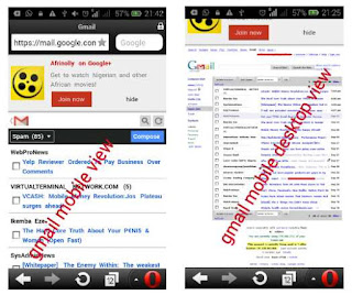 gmail mobile to desktop version on opera mini