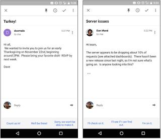 Google Luncurkan Fitur Smart Reply Untuk Gmail di iOS dan Android