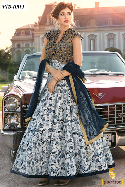 Blue Color Western Gown Style Anarkali Salwar Suits Designer Collection For Fashionable Girls