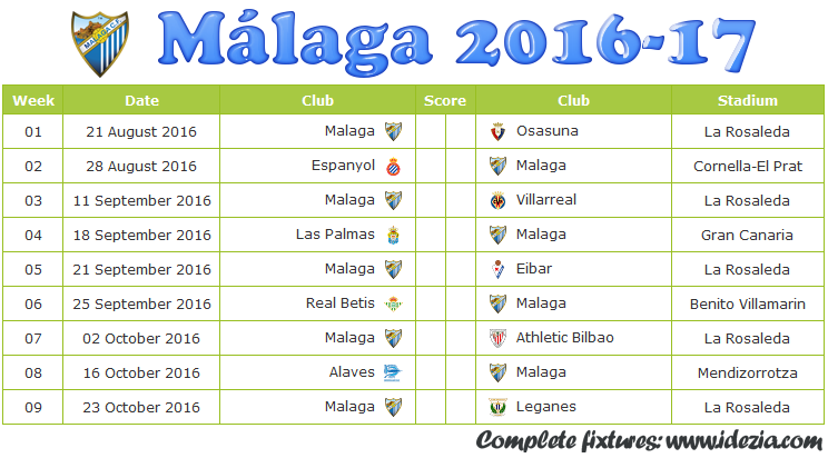 Download Jadwal Málaga CF 2016-2017 File PDF - Download Kalender Lengkap Pertandingan Málaga CF 2016-2017 File PDF - Download Málaga CF Schedule Full Fixture File PDF - Schedule with Score Coloumn