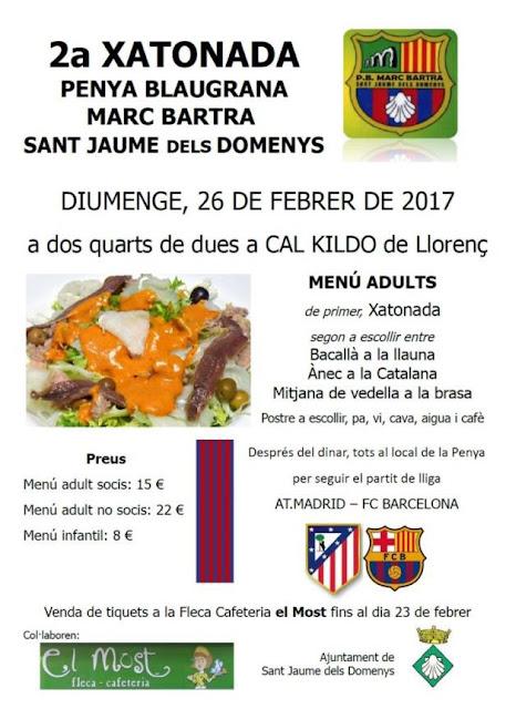 2a Xatonada amb la Penya Blaugrana Marc Bartra a Sant Jaume dels Domenys diumenge 28 de febrer de 2017