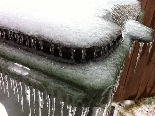 A completely frozen trash bin. - The 30 Most Amazing Photos Of Frozen Things In Honor Of The Coldest Morning Of The 21st Century