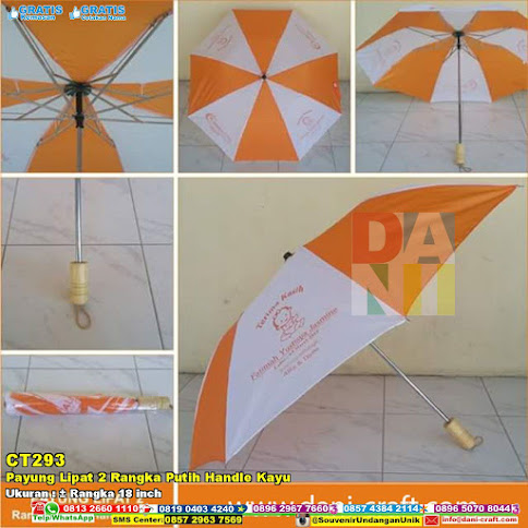 Payung Lipat 2 Rangka Putih Handle Kayu