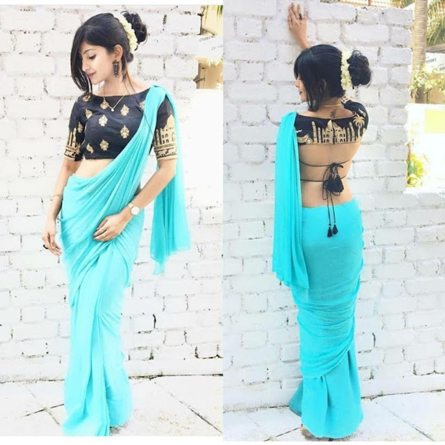 ee39be9c2e9820  41 Plain saree with deisgner blouse - Trendy tie up and mughal inspired  motifs