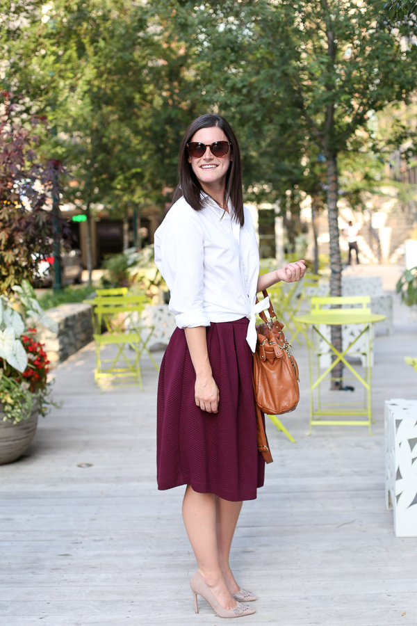 Burgundy-midi-skirt-for-fall-white-dress-shirt