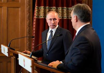 Vlagyimir Putyin és Orbán Viktor — Fotó: Alekszej Druzsinyin/EPA/Szputnyik/MTI/pool