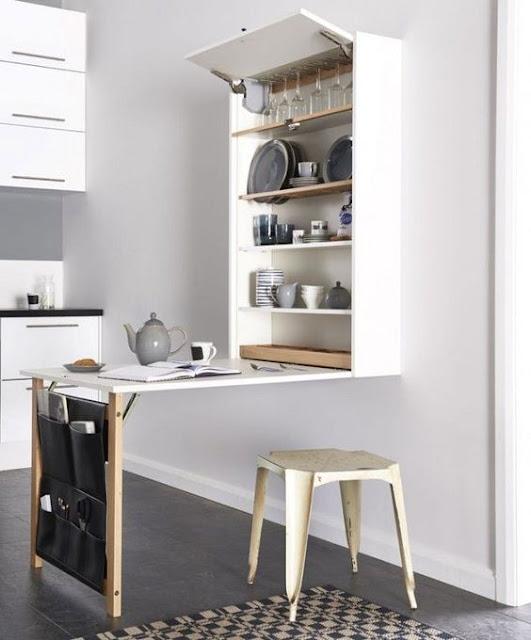 03 Meja yang dapat dilipat ke dinding