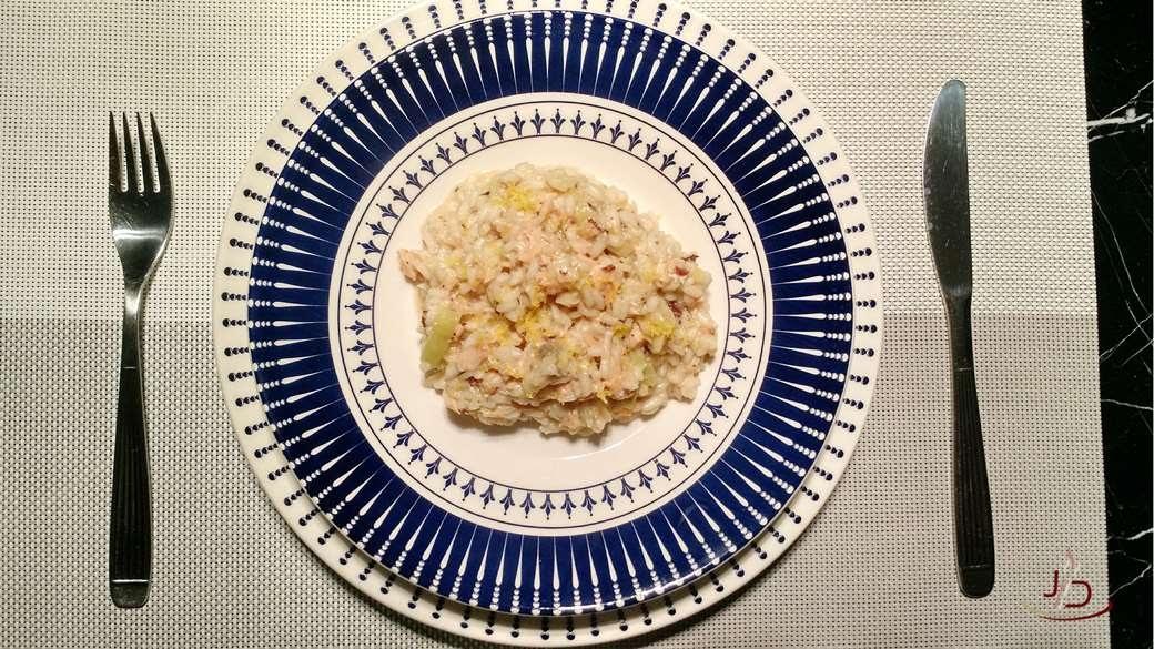 foto da receita de risoto de salmão pronta