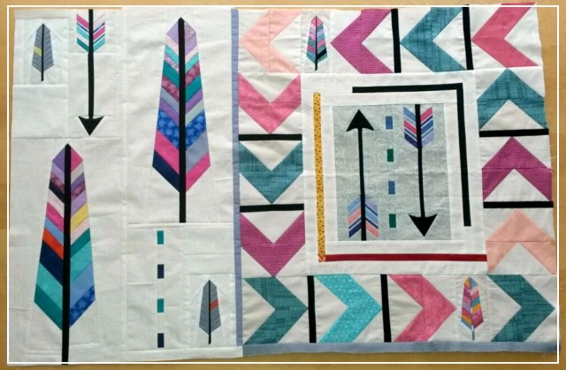 Puppilalla, Round Robin Quilt, FPP, Foundation Paper Piecing, The Rakish Needle, Arrow Quilt