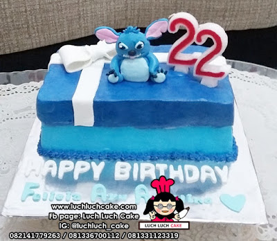Kue Tart Bentuk Kotak Kado Stitch