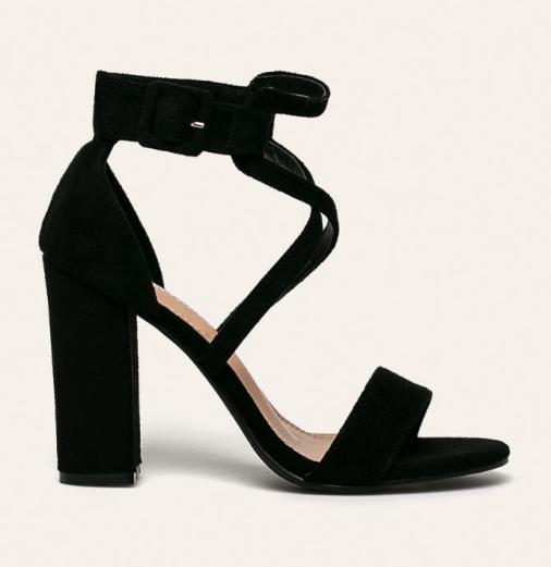 Sandale elegante cu toc gros negre de zi si de ocazii la pret mic