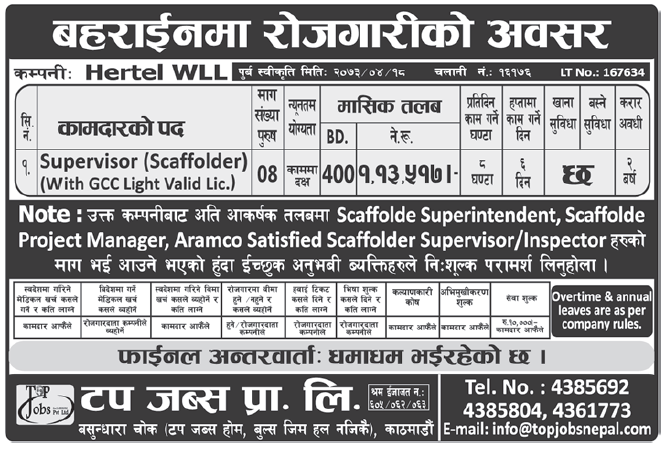 Jobs in Bahrain for Nepali, Salary Rs 1,13,517