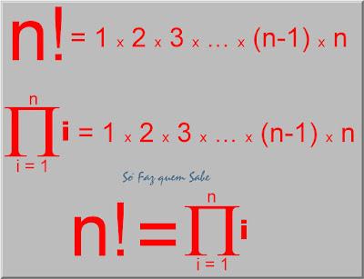 O produtório de todos os número naturais inferiores ou iguais a um certo número n é igual ao fatorial de n.