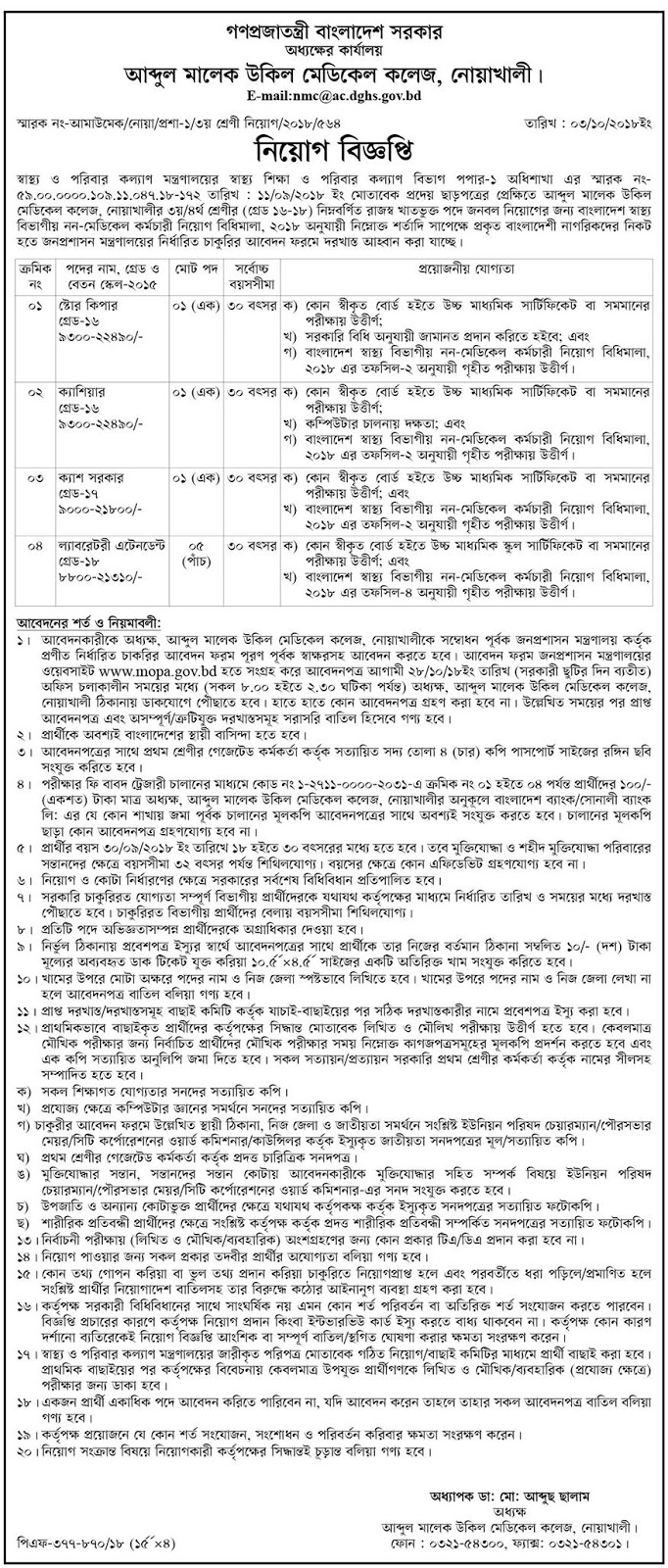 Abdul Malek Ukil Medical College, Noakhali Job Circular 2018