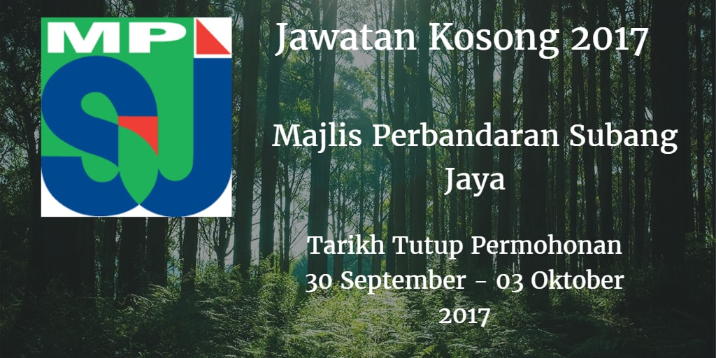 Jawatan Kosong MPSJ 31 September - 30 Oktober 2017