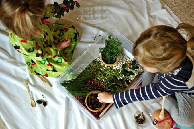 Christmas Sensory Bin made from all natural ingredients