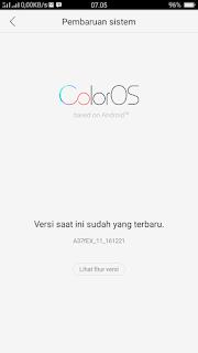 Cara pembaruan sistem Color OS di Oppo A57