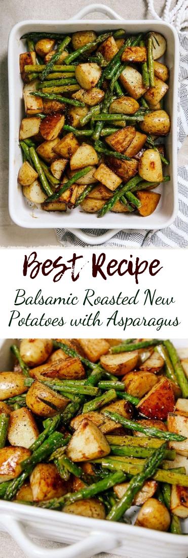 Balsamic Roasted New Potatoes with Asparagus #vegan #recipevegetarian