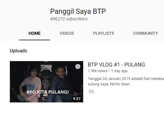 Youtube Ahok  Dalam 1 Menit Ribuan Subscibe