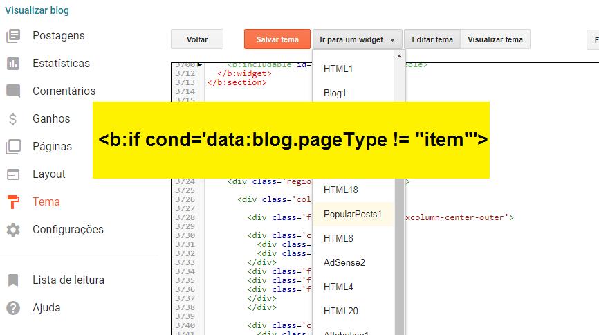 Ocultando um widget nas páginas dos posts do Blogger