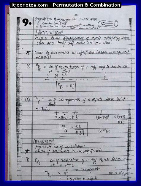 IITJEE Notes on Permutation & Combination9