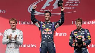 Daniel Ricciardo ganando su primer premio de Formula uno Canada 2014