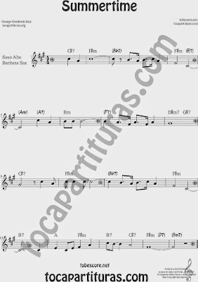 Summertime de Partitura de Saxofón Alto y Sax Barítono Sheet Music for Alto and Baritone Saxophone Music Scores