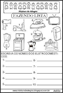 Lista de eletrodomésticos grupo semântico alfabetização