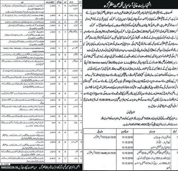 GOVT JOBS, 2016, Muzaffargarh, Health, Health Department Muzaffargarh Jobs, Computer Operator,