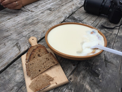 Bread and kislo mleko  (sour milk) at Planina Laz.