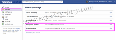 Facebook Security Settings Option