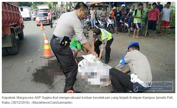 Kecelakaan Mio Vs Satria di depan Kampus IPMAFA Pati, 1 Pelajar Tewas dan 3 Luka-luka