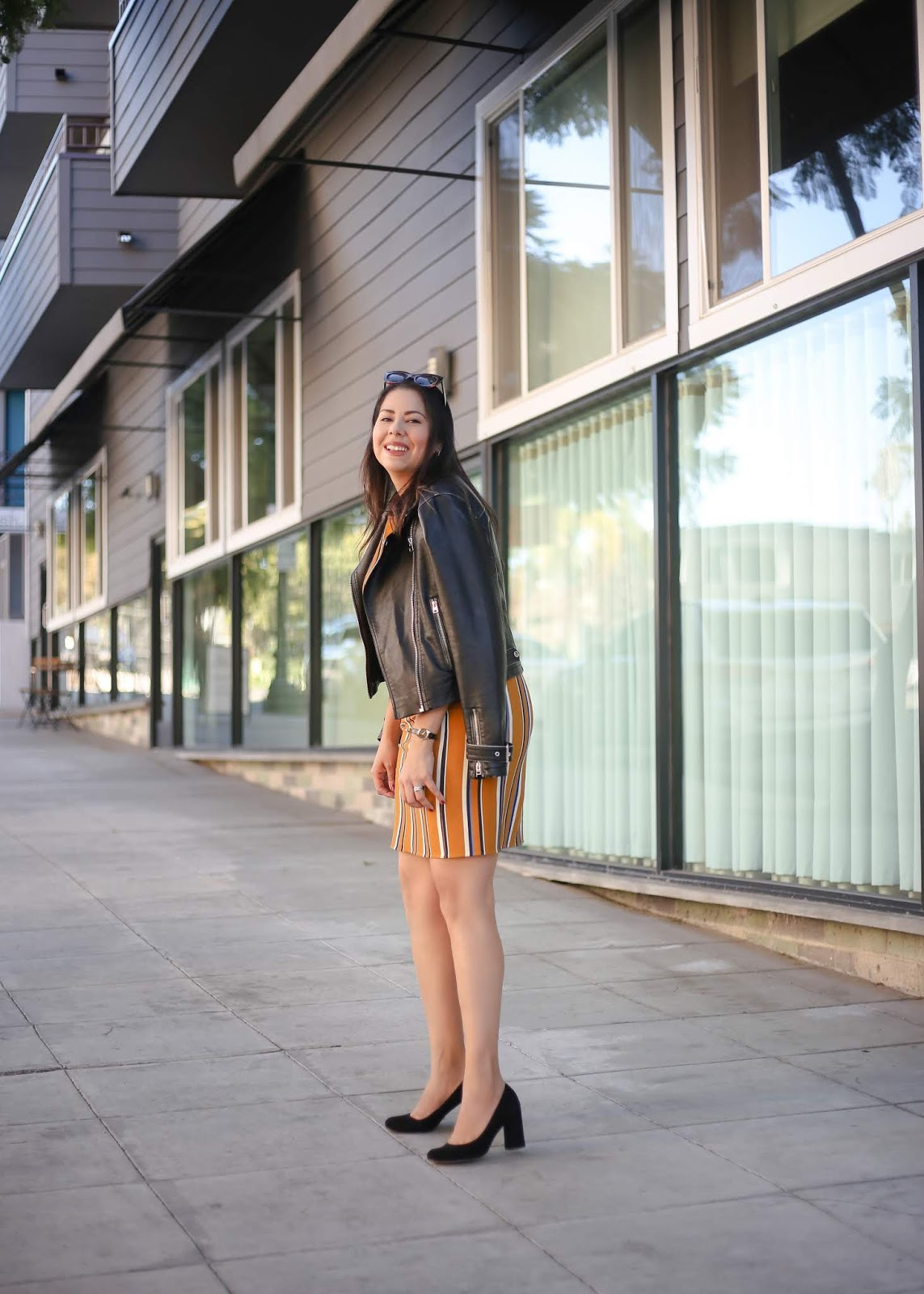 reversible dress with moto jacket, how to wear a striped dress with moto jacket, san diego fashion blogger in little italy