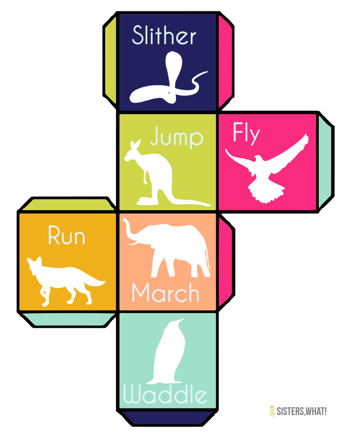 Such a fun way to get kids moving with this free printable animal movement dice