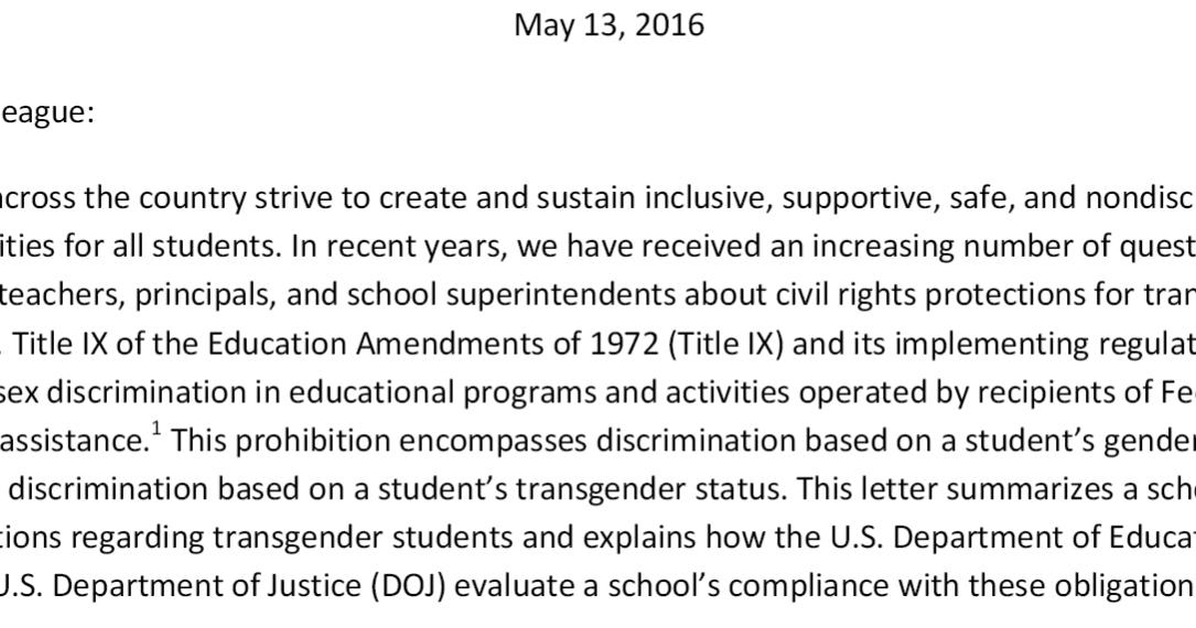 Letter On Transgender Students Removes Means For