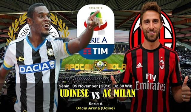 Prediksi Udinese Vs AC Milan 05 November 2018