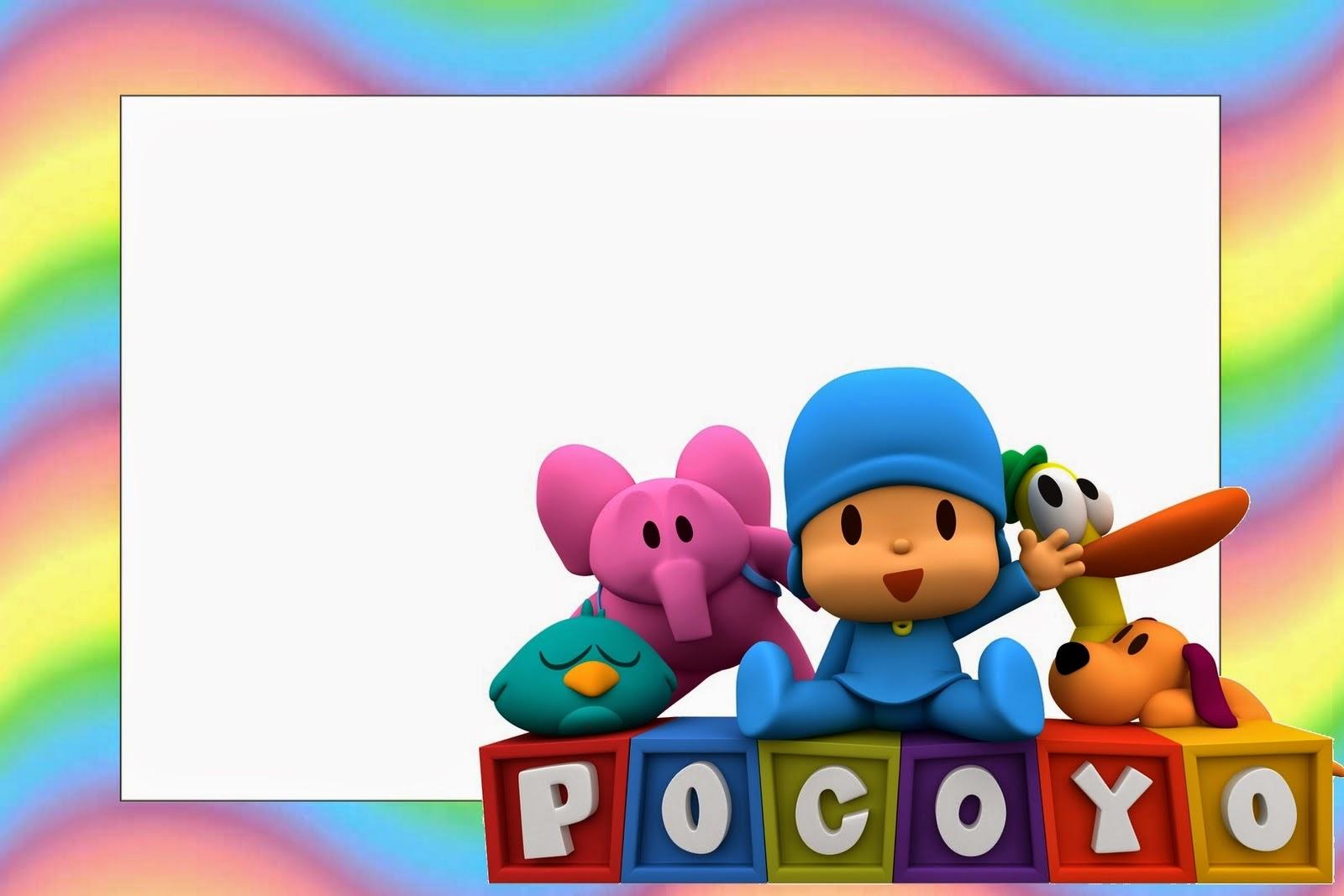 Pocoyo with Rainbow Background: Free Printable Invitations ...