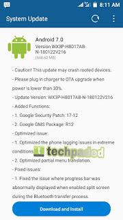 tecno wx3 Pro update changelog