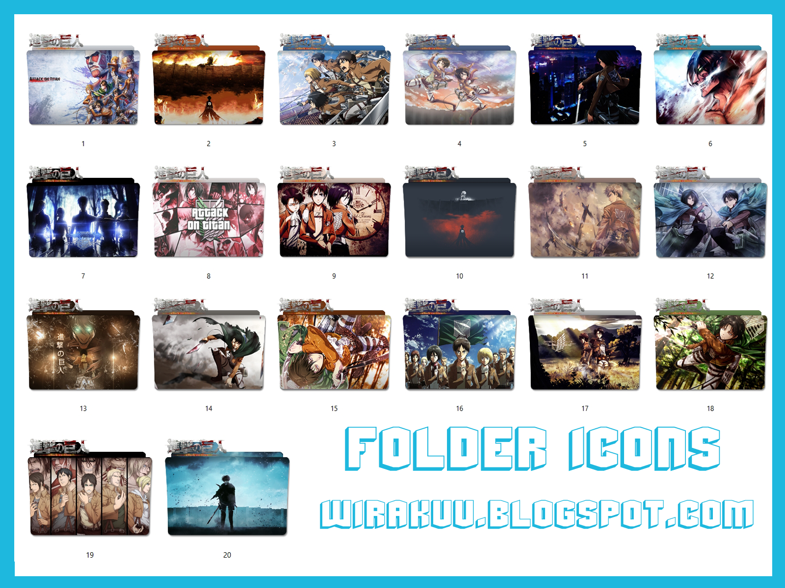 20 Folder Icons Anime Shingeki no Kyojin - Attack on Titans Pack 2 (Windows 7, 8, 10)