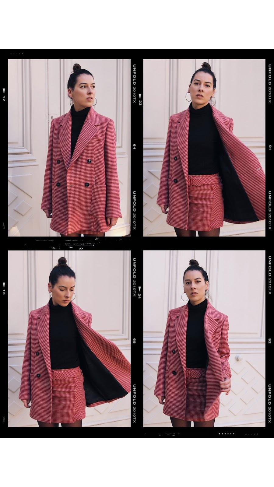 costume carreaux mango, rose tendance , idée de look