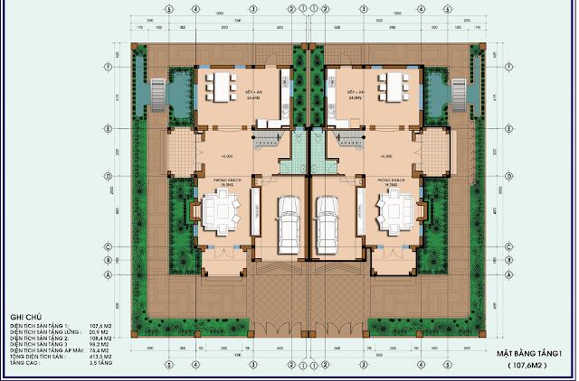 Mặt bằng điển hình thiết kế biệt thự song lập Louis City