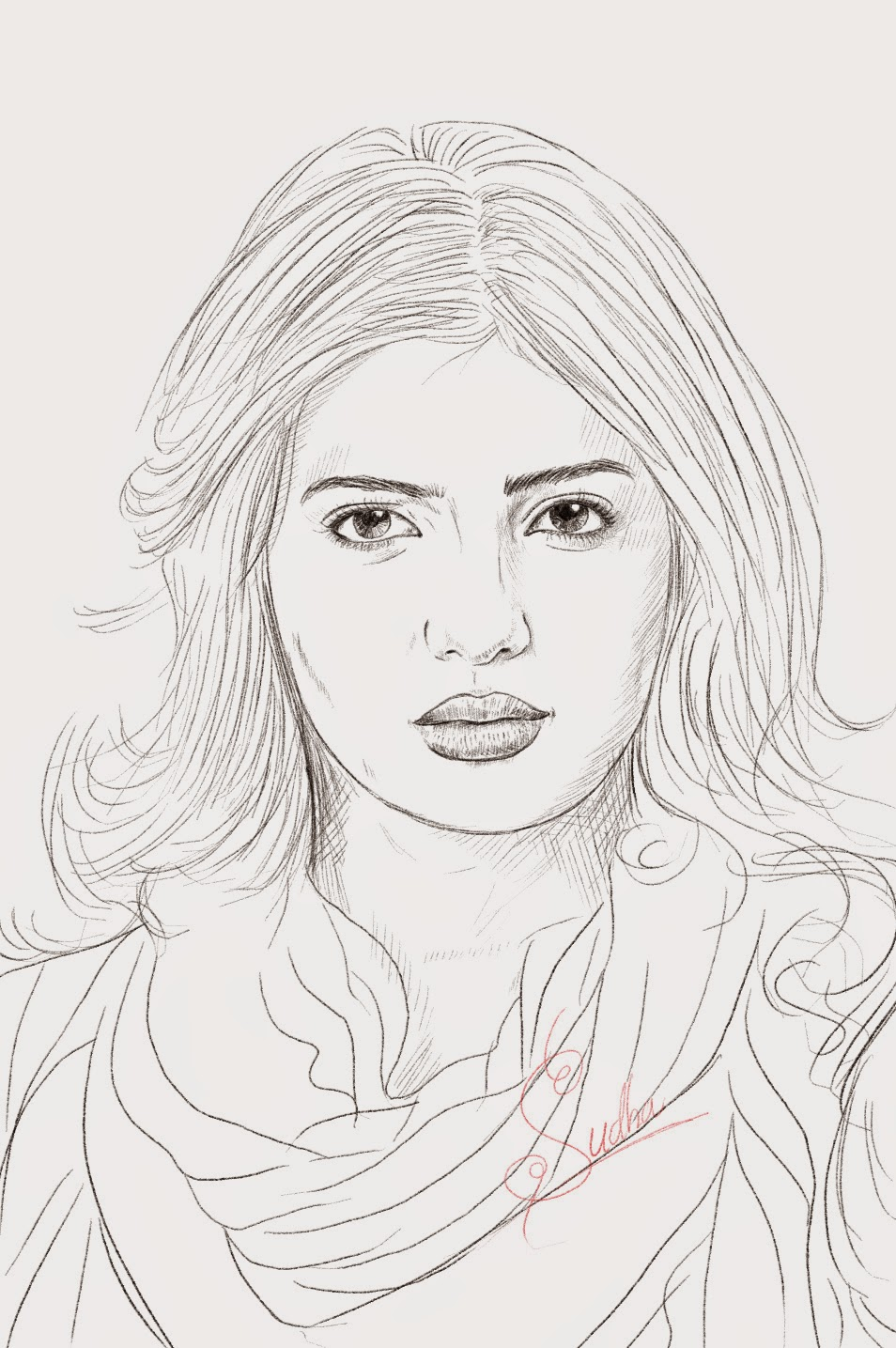 Free Coloring Pages Download How To Draw And Color Videos Samantha Portrait Drawing Beautiful Indian Actress Pencil Art Work