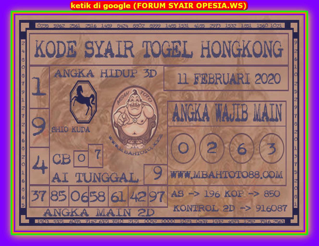 Kode syair Hongkong Selasa 11 Februari 2020 177