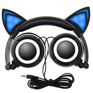 LED Flashing Cat Ear Foldable Headphones